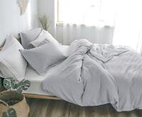 Washed Linen Cotton Duvet Cover Set Soft Warm Bedding Vintage Breathable PHF