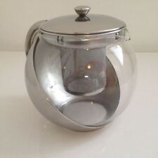 Chrome 700ml Stainless Steel Glass Faced Teapot with Infuser Tableware