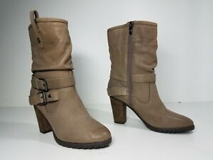 $149 size 5 Marc Fisher Famous Natural Leather Heels Mid Calf Womens Boots