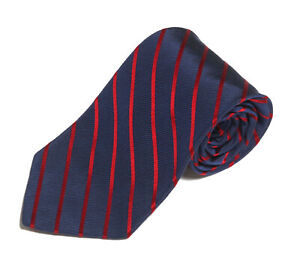 BROOKS BROTHERS Navy Blue Red Diagonal Striped Men's Silk Neck Tie