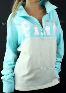 Victoria's Secret PINK Boyfriend Half Zip Mockneck Oversize Fleece Sweatshirt