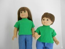 """Short Sleeve Green T- Shirt for 15"""" and 18"""" Dolls"""
