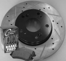 01-03 Mazda Protege DX LX Cross Drilled Slotted Brake Rotors Ceramic Pads Front