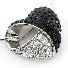 Black & White Heart Use Austria Crystal 18K White Gold-Plated Necklace
