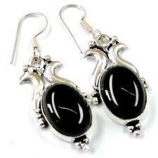 "50.00Cts Black Onyx Agate Gemstone Silver Overlay Handmade Earrings 2"""