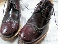 ROAMERS  Leather Hi-Shine Oxblood Brogue RED Shoes-UK 10/EU 44/MODS