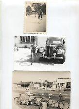N°9726 /  3 photos ; grand Bi , vélo 5 places et garconnet à la Matford