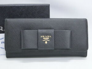 PRADA Wallet Bifold Saffiano Black Leather 1MH132 Ribbon Italy 32170205700 G
