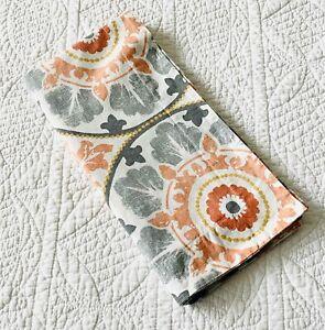"Pottery Barn Multi Veronica Medallion Organic Euro Pillow Sham Grey Orange 26"""