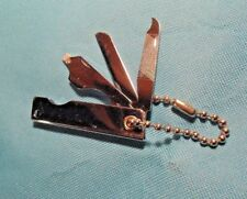 STAINLESS STEEL FOLDING POCKET KNIFE  KEY CHAIN ~ 3 BLADES