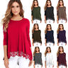 US Ship Womens Lace Casual Long Sleeve Loose Fit Tunic Tops T-Shirt Soft Blouse