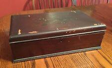 Vintage Antique Walnut Keepsake Box Tongue n Groove Decoupage Inside 14 1/2�