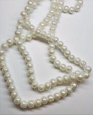 "6mm White Textured Round Glass Pearls - 16"" Strand"