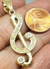 "GOLD Treble Clef Music note pendant 10k charm simulated diamond 1.85"""