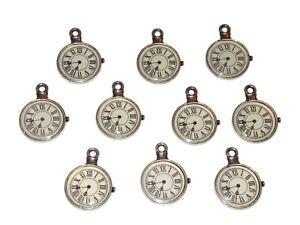 10 Steampunk Pocket Watch Antique Style Silver Tone Clock Charm Pendants Craft