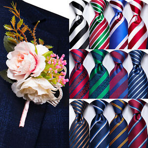 Novelty Mens Tie Silk Necktie Pin Set Red Blue Black Striped Solid Wedding Party