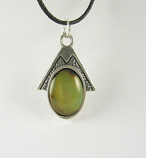 Green Turquoise Pendant .925 Sterling Silver Necklace USA Made Mens Jewelry SW
