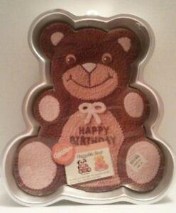 Vintage 1982 Wilton Huggable Bear Cake Pan Aluminum Happy Birthday Mold