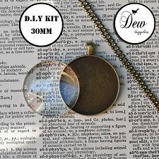 10 x DIY 30mm Round Bronze Necklace kit circle glass, pendant tray and chain