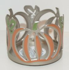 BATH & BODY WORKS ORANGE PUMPKIN MINI CANDLE HOLDER SLEEVE SMALL METAL GREEN