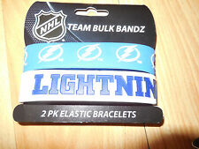 NHL TAMPA BAY LIGHTNING 2 PACK ELASTIC/SILICONE BRACELETS BANDS GO BOLTS NEW