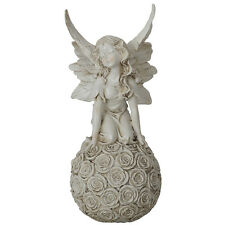 Kneeling Fairy On Rose Ball 32cm   Garden Figurine Sculpture Ornament