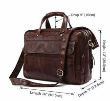 "Men Genuine Leather Briefcase Attache 16*5*12"" Laptop Portfolio Tote Bag"