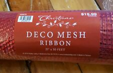 Hobby Lobby NEW Red Christmas Mesh 21 in x 30 ft Deco Mesh Ribbon Holiday