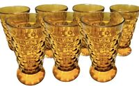 7 INDIANA Whitehall Colony Cubist Cube Amber Harvest Gold Ice Tea Tumblers
