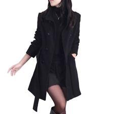 Winter Women Double-breasted Long Slim Trench Parka Coat Outwear Jacket Overcoat