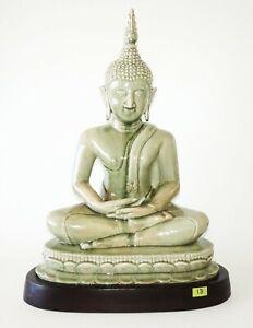 20C Thai Celadon Glazed Pottery Seated Buddha mounted on a Wooden Base (IsH)#13
