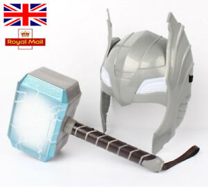 LED Glowing And Sounds Thor Hammer Helmet Mask Kids Cosplay Toys