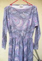 VTG R & K 80S L M PURPLE MOD PAISLEY SECRETARY BOAT NECK SPRING SOFT DRESS WOMEN