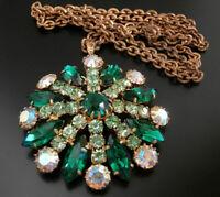 Czech VINTAGE 1950's Necklace with Rhinestone Pendant #T171- UNIQUE!!!!