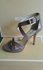 NIB MICHAEL KORS SHOES HEEL EVIE PLATFORM STRAP PATENT LEATHER CINDER GREY 6