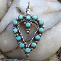 Vintage Zuni Turquoise + Coral Snake Eye Heart Shape Pendant in Sterling