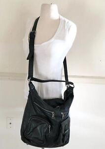 LIEBESKIND Berlin Black Hobo Tote Purse Leather Shoulder & Crossbody Bag