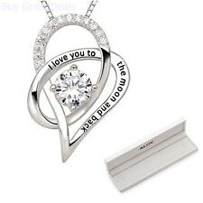 Womens Girls Jewelry 925 Sterling Silver Heart Pendant Necklace Women Fashion