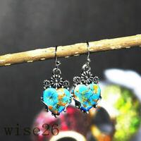 Women 925 Silver Jewelry  Vintage Turquoise Dangle Drop Hook Earrings