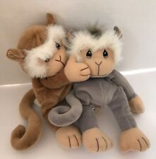 Enesco Precious Moments Tender Tails Plush Lot, Brown Monkey & Gray Monkey Toys