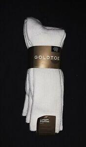 Gold Toe Cotton Fluffies #633S, Men's White Socks, 3-Pack, New