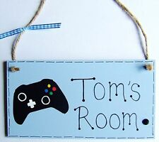 PERSONALISED PLAQUE SIGN HANDMADE BOYS VIDEO GAMER XBOX PLAYSTATION BEDROOM DOOR