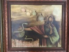 J. Nelson Original Oil Painting on Canvas Indian Cobra Snake Dancing, Framed