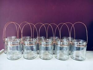 Hanging glass jar tea light lantern copper wire candle holder wedding party