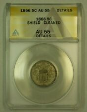 1866 Shield Nickel 5c Coin ANACS AU-55 Details Cleaned