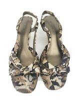 "Bandolino 8.5 satin strappy wedge heel sandals refined camouflage print 3"" heel"