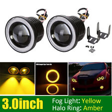 "2x 3""INCH Round Yellow LED Projector Fog Light Amber Angel Eyes Halo ATV Trucks"