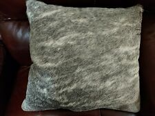 NEW GREY and Off White Cowhide Hide Fur Cushion Pillow GRAY Leather Back COVER