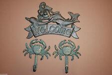 (3) Mermaid Beach House Welcome Plaque Coat Hat Wall Hook, Bronze Look Cast Iron