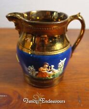 Antique Copper Luster Scenic Woman Training Dog & Molded Faces Jug Pitcher